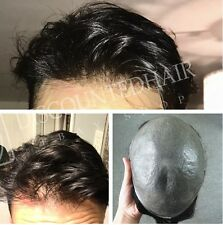 Invisible Hairline Ultra Thin Skin Hair Replacement Toupee Mens Hairpieces Black