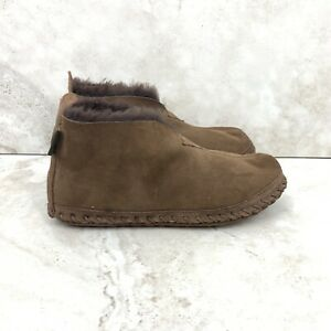 LL Bean Men 9 Slippers Wicked Good Chocolate Brown Suede Shearling Bootie FLAW