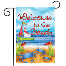 """Welcome to the Beach Summer Garden Flag Nautical Sailboat Crabs 12.5"""" x 18"""""""