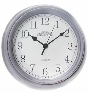Shabby Chic Vintage Kitchen King's Cross London Wall Hanging Clock 22cm ~ Grey