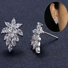 Wedding Shiny Brincos Trendy Cubic For Women Earrings Jewelry Leaves Stud