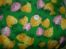 VINTAGE QUILT DRESS FABRIC NOVELTY PINK YELLOW STRAWBERRY ON GREEN 2 1/2 YD