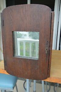 Antique 19th Century Oak Medicine Cabinet Pharmacy Cupboard Green Blue