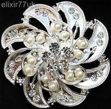 New Large Silver Flower Diamante Crystal & Faux Pearl Brooch Wedding Gift Broach