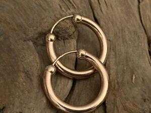 Pair Vintage 9ct 9kt Rose Gold 2.2cm Hoop Ladies Earrings Jewellery 1.7grams