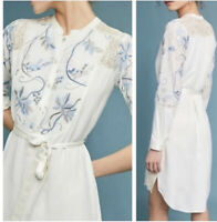 Anthropologie • Tiny Amarante Floral Embroidered Shirt Dress, Size XS