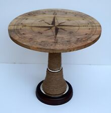 Nautical compass design wooden table rope wrapped coffee tea home table decor