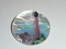 """Red Lighthouse & Buildings MOP - Mother Pearl Shank Button 1-3/8"""" Currituck, NC"""