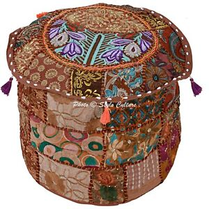 Boho Pouf Ottoman Cover Brown Pouffe Foot Stool Patchwork Embroidered Round