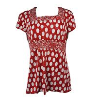 CHRISTOPHER & BANKS Red White Dots Crinkle Short Sleeve Top Womens Size M Medium