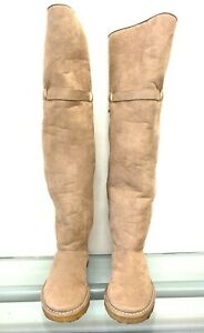 STELLA MCCARTNEY TALL BEIGE SUEDE ROUND TOE SNOW BOOTS BOOT STRAP BUCKLE