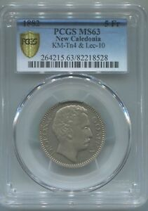 NEW CALEDONIA 5 FRANCS 1882 DIGEON & CO PCGS MS63 RARE
