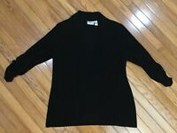 CHICOS TRAVELERS Women's Black Slinky open front Blouse Top Size 3