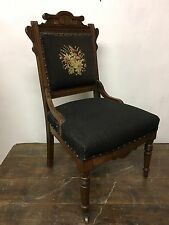 Antique Victorian Renaissance Revival Walnut Carved Side Chair 1870s Embroidered