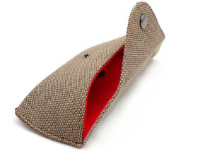 DRAGON Eyewear Glasses or Sunglasses Pouch Case - Brown with Red Felt Lining