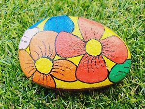 Hand Painted pebble stone rock art rainbow daisy pansy flowers on yellow