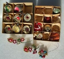 """17 Antique Vtg Small 2"""" Indent & Other Mercury Glass Christmas Ornaments W/Boxs"""