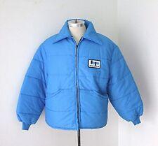 Euc Vtg 70s Blue Nylon Puffer Zip Jacket Bryant-Poff Advertising Uniform Patch L