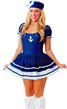 Womens Navy Sailor Military Pirate Ladies Fancy Dress Costume Size 8 - 10