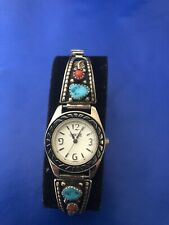 Vintage Navajo Hand Made Sterling Lady's Watch Bands And Watch Turquoise & Coral