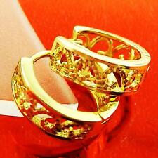 HUGGIE HOOP EARRINGS REAL 18K YELLOW  G/F GOLD ANTIQUE FILIGREE DESIGN FS3A118