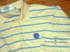 Conway Farm Golf Club Shirt By Fairway Green Tour-Logo Yellow/Blue Striped Large