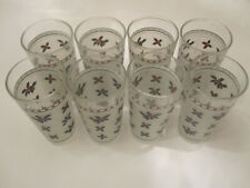 Eight Decorative Frosted Drinking Glasses Tumbers 6 inches Tall