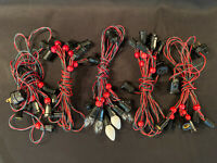 5 Vintage Noma C7 Christmas String Lights 5 Bulbs Red Wooden Beads Tested Works!