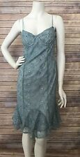 Vintage 90's Betsey Johnson Corset Lace Blue Embroidered Floral Dress Size 10