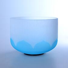 "12"" G Throat Lotus Blue Wholesale Chakra Crystal Quartz Singing Bowl Heal Stone"