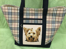 Beautiful Custom Embroidered Yorkshire Terrier Tote