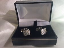 BRAND NEW, CASED, CORRUGATED EFFECT STERLING SILVER CUFFLINKS - RRP £70
