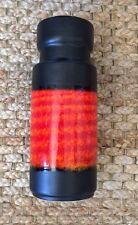 "Exceptional: West German MCM Pottery 10"" Vase Orange Flame Scheurich"