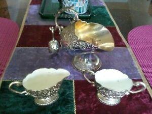 Vtg Japan Intl Silverplate Repousse Sugar Scuttle Bowl w Scoop creamer FB Rogers