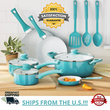 Mainstays Ceramic Nonstick Cookware Set 12 Pieces Kitchen Pans/ Utensils Teal