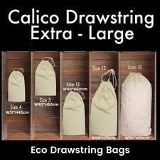Large Calico Drawstring Bags Storage Drawstring Calico Bags 145gsm Linen Bags