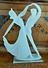 VINTAGE RETRO CRYSTAL LITE FROSTED LUCITE DANCERS FIGURINE ON BASE