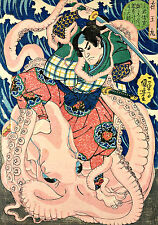 Utagawa Kuniyoshi  Samurai and the Octopus Wall Art  Canvas