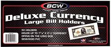 50- LARGE BCW DELUXE CURRENCY MONEY SLEEVE BILL PAPER NOTE  HOLDERS SEMI RIGID