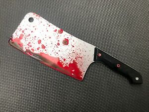 Fake Plastic Knife Butchers Meat Cleaver Halloween Prop Bloody Weapon Accessory