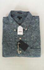 J.CREW Men's Slim Fit Print Indigo Gray Long Sleeve  Buttoned-Down Shirt XXL