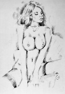 Original A4 AKTzeichnung :: Pencil Sketch nude :: Nu Crayons :: Graphite Drawing