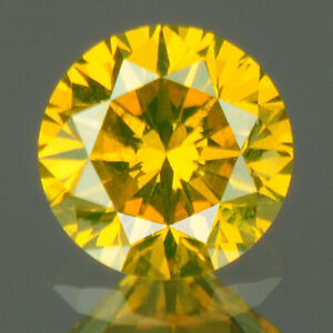 0.30 cts CERTIFIED Round Cut SI2 Golden Yellow Color Loose Natural Diamond 20219
