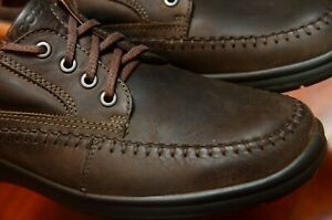 Ecco Brown Oxford Mens Size 10-10.5 / 44 Moc Toe Casual Lace Shoes Shock Point