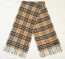 VINTAGE AUTHENTIC LAMBSWOOL PLAIDS & CHECKS BEIGE WOOL LONG MEN'S FRINGE SCARF