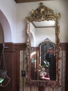 "Antique Large Wall Mirror 19th century Hand Carved Floral Gold Gesso 54"" Tall"