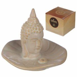 Eden Incense Burner Ash Catcher, Cream Thai Buddha Head and Leaf Home Fragrance