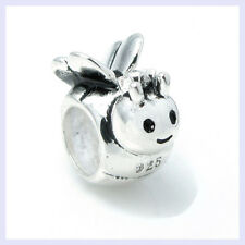 Sterling Silver Smile Honey Bumble Queen Bee Bead for European Charm Bracelet