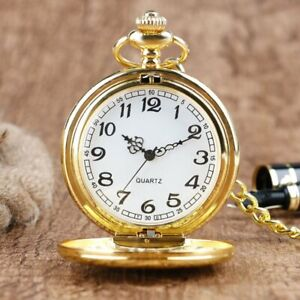 Vintage Quartz Gold Pocket Watch with Chain 1920's Classic Peaky Blinders Style