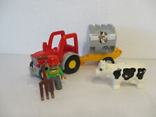 (E7) Lego Duplo Tractor and Trailer with Constructor and Cow for Farm